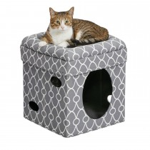 """Midwest Curious Cat Cube Gray 15.13"""" x 15.13"""" x 16.50"""""""