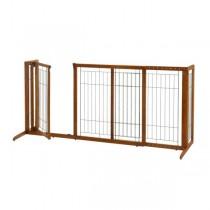 "Richell Deluxe Freestanding Pet Gate with Door Large Brown 61.8 - 90.2"" x 27"" x 36.2"" - R94190"